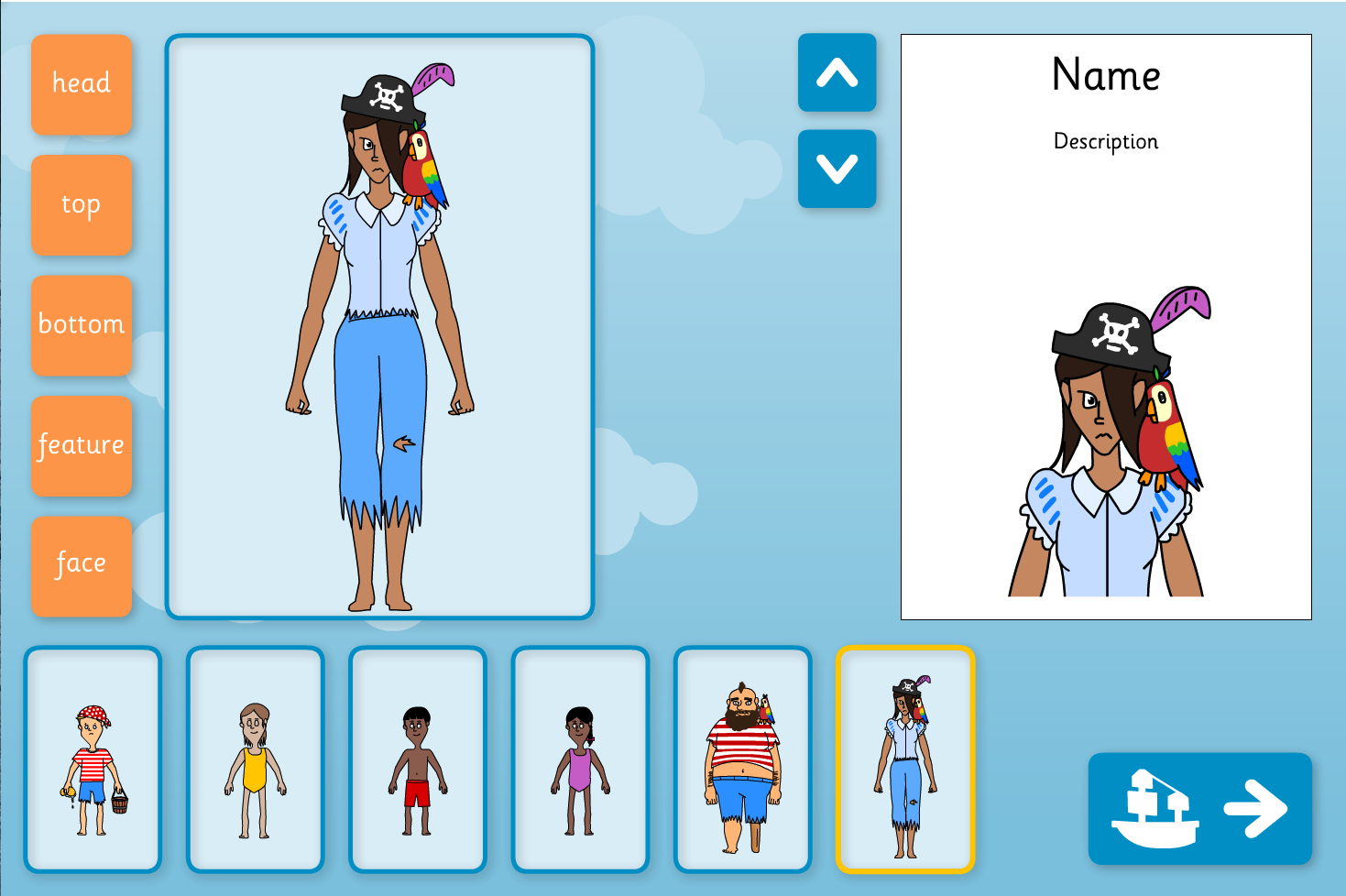 Character Builder Interactive Activity - Pirates - KS1 Literacy