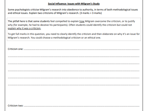 AQA PSYCH A-Level - WHOLE Yr 13 Starters with Answers