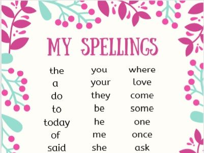 Year 1 Common Exception Words Flowers Theme