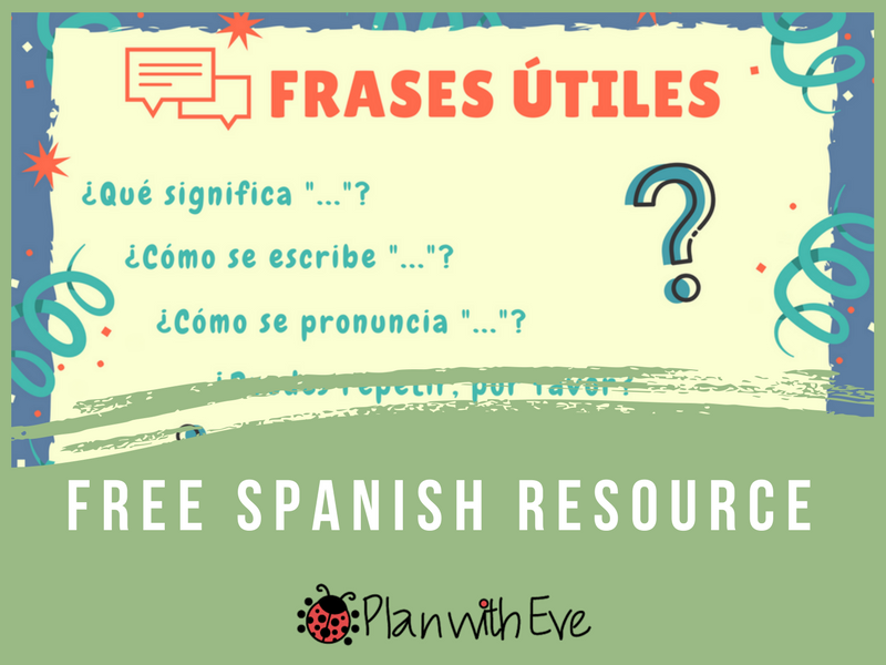 Useful Spanish phrases for class, beginners! Free Resource!
