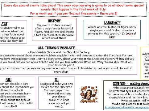 Themed Home Learning  - First week of July events