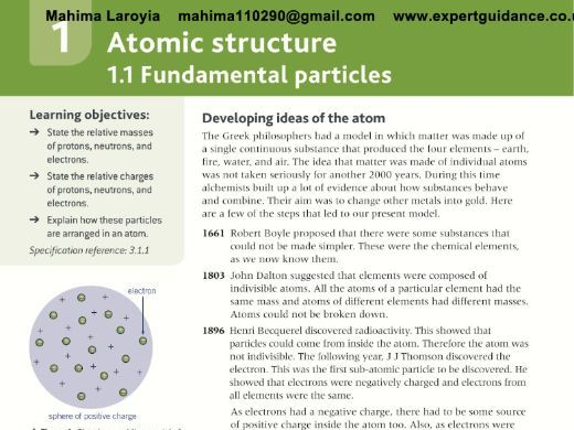 AQA AS Chemistry Year 1 and AS 2nd Edition 1 Atomic Structure  Revision Videos,Notes