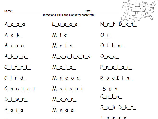 United States: Fill in the blanks for each state
