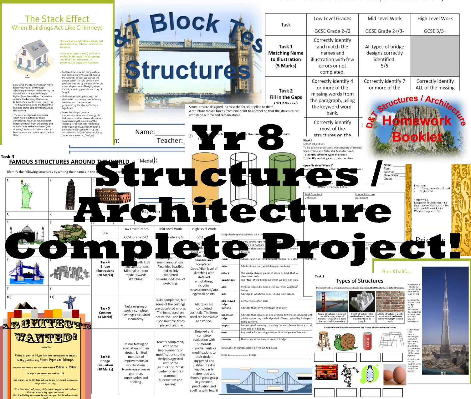 DT - Yr 8 Structures / Architecture / Engineering - COMPLETE body of work