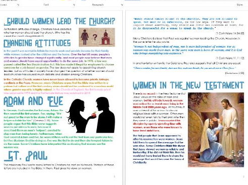 Christianity: Women in the Church: Differentiated Information and Activity Sheets