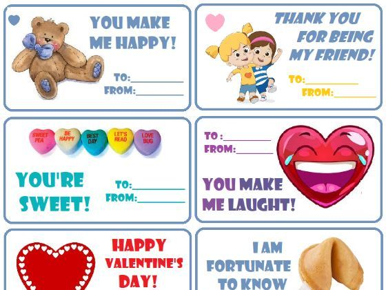 24 English Valentine's cards Red Pink Purple Cute Fun New Printable