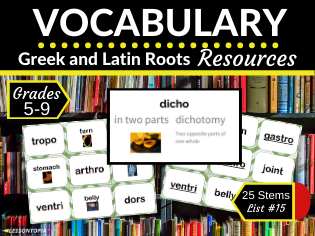 Vocabulary Activities for Greek and Latin Roots-List #15