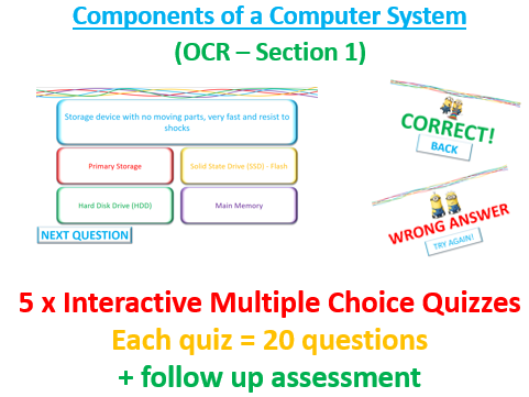 5 x Interactive Multiple Choice Quizzes - Computer System (Hardware & Software)