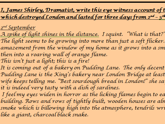 KS1 & 2 Eye witness recount /diary account of the Great Fire of London