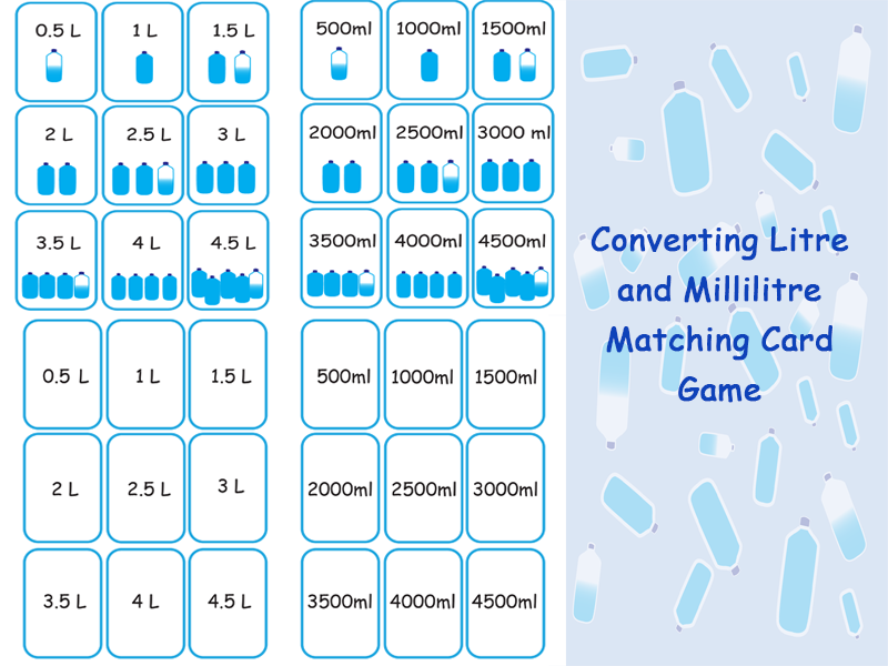 Converting Litres and Millilitres Matching Card Game