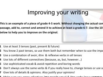 Improving your writing French GCSE