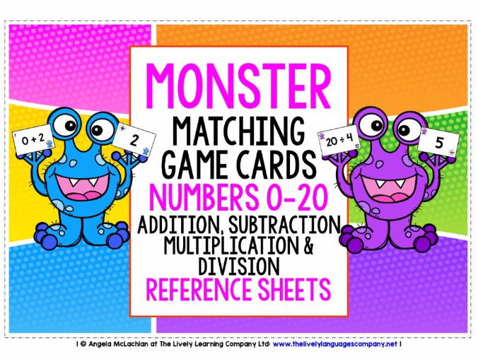 MATHS NUMBERS 0-20 - ADDITION SUBTRACTION MULTIPLICATION DIVISION - GAME CARDS & ANSWER KEYS