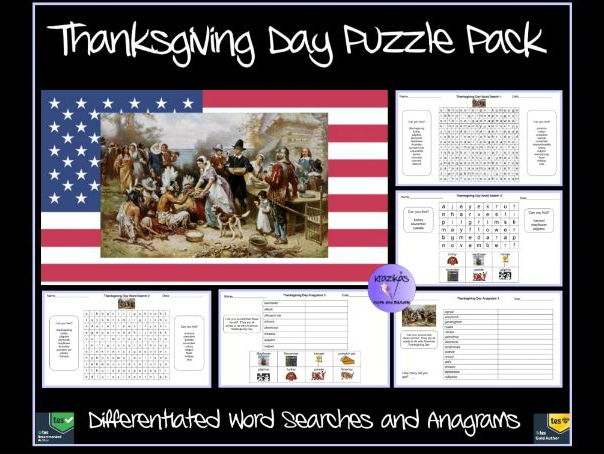 Thanksgiving Day Puzzle Pack - Differentiated Word Searches and Anagrams