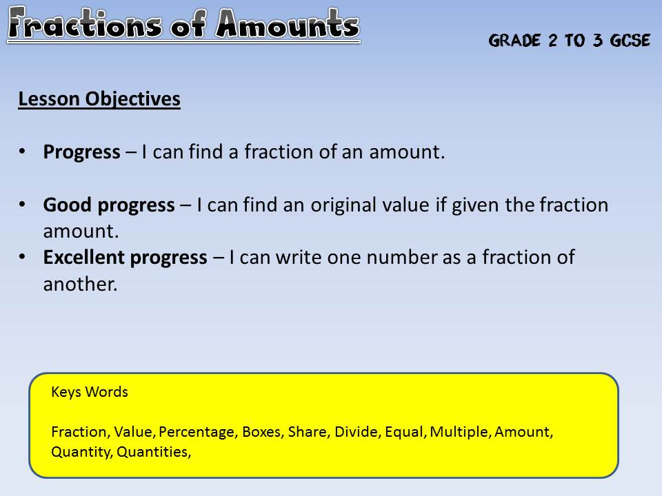 Fractions of Amounts (9-1 GCSE) differentiated - Box Method - Singapore Maths - Mastery