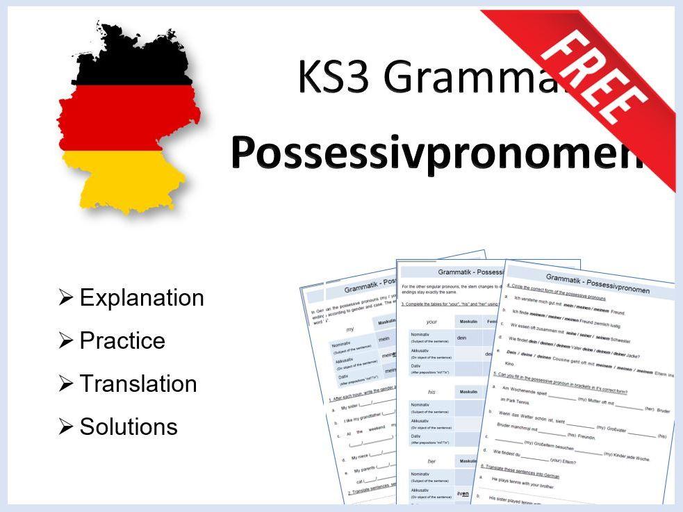 German KS3 Grammar - Possessivpronomen - Die Fälle