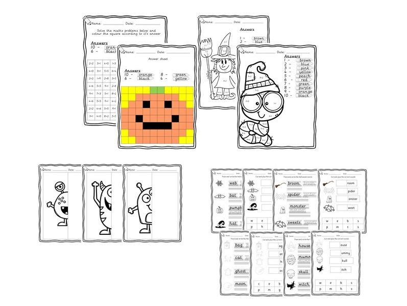 Halloween Bundle - Maths, phonics, handwriting