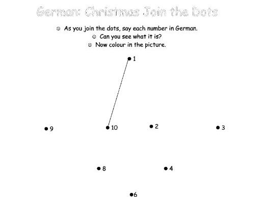 GERMAN - Christmas Join the Dots (1-10) with Vocabulary Guide.