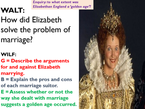 Elizabeth and the issue of marriage.