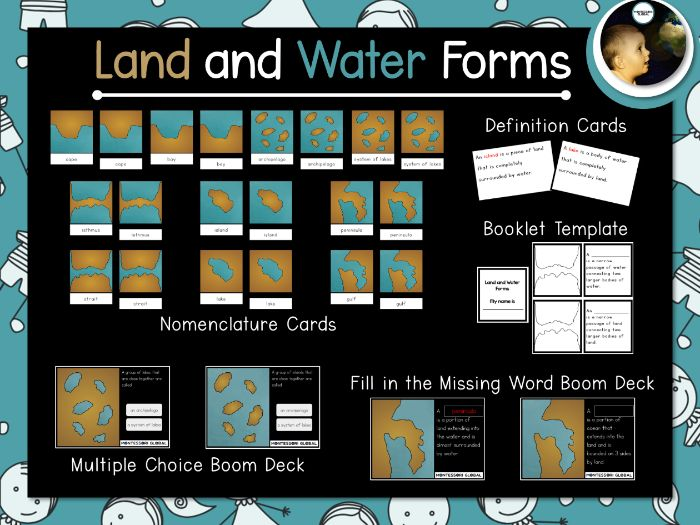 Montessori - Land and Water Forms | Montessori Cards and Boom Cards™
