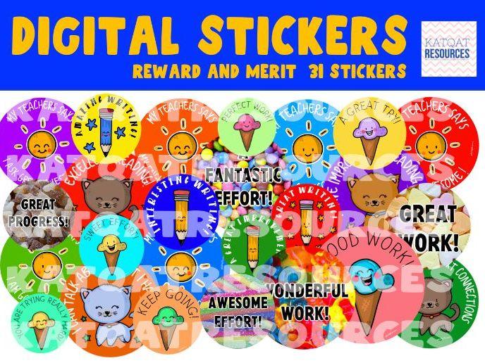 Distance Learning Rewards – Mini Digital Sticker Bundle – Merit and Reward – 31 Virtual Stickers