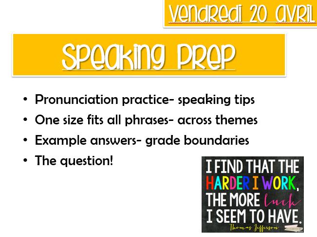 AQA GCSE SPEAKING PREP LESSON