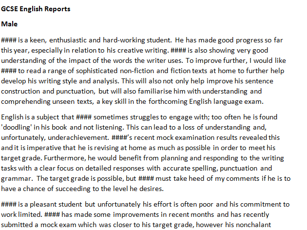ks4 year 10    11 gcse english pupil report comment bank by
