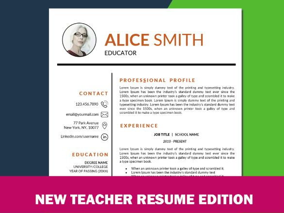 Teacher Resume Template With Photo For Ms Word Elementary Educator