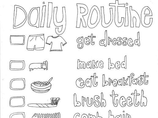 daily routine colouring page by sarah277