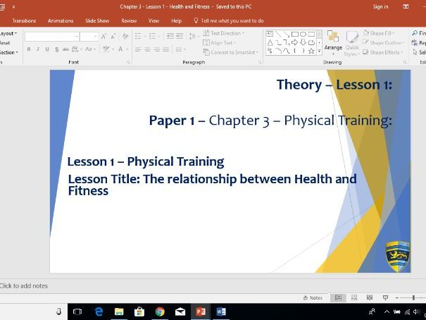 AQA GCSE PE (New Specification) Chapter 3: Physical Training - Health and Fitness - Lesson 1