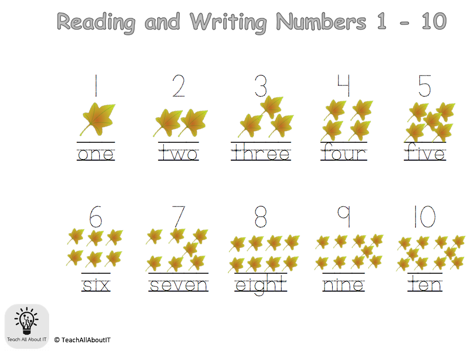 Autumn Reading & Writing Numbers 1 - 20