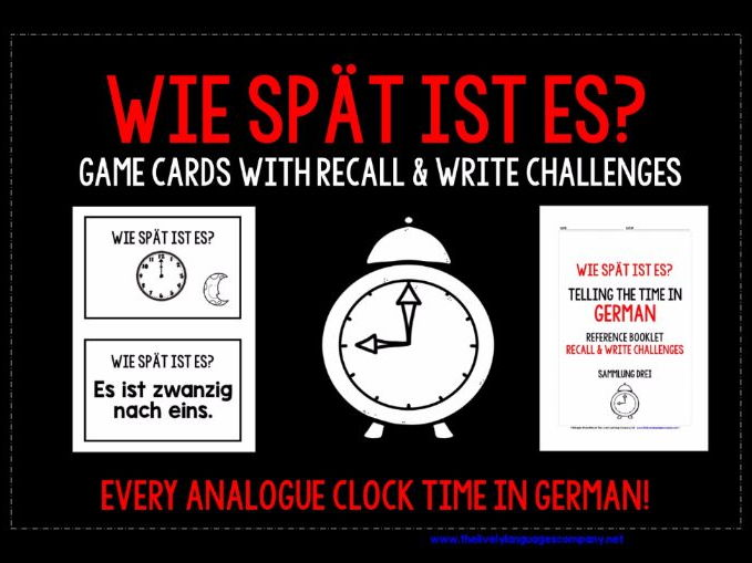 GERMAN TELLING THE TIME MATCHING CARDS & RECALL CHALLENGES - EVERY ANALOGUE CLOCK TIME!