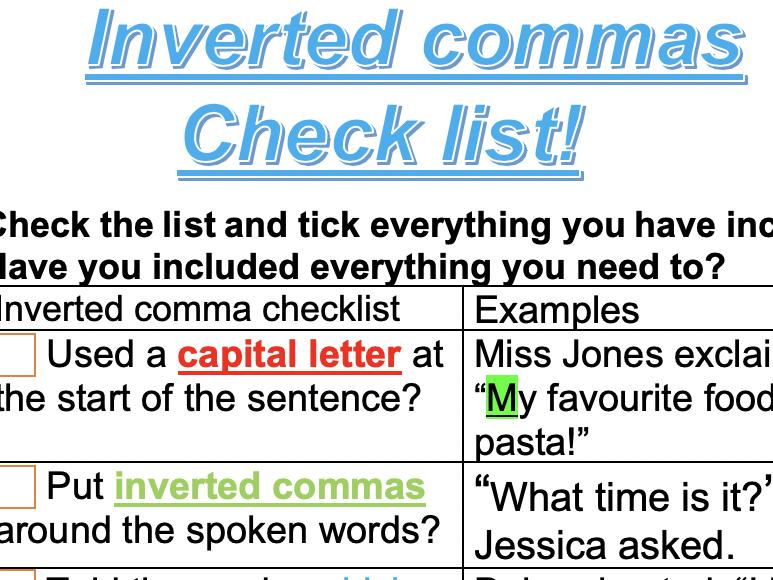 Inverted commas checklist
