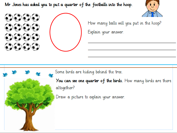 Finding a quarter of a quantity. Differentiated Worksheets Year 1 (White Rose)
