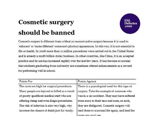 Debate Lesson Plan - Cosmetic surgery should be banned