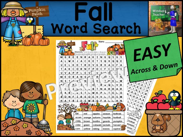 Fall Word Search | EASY Puzzle | Ready to Go!