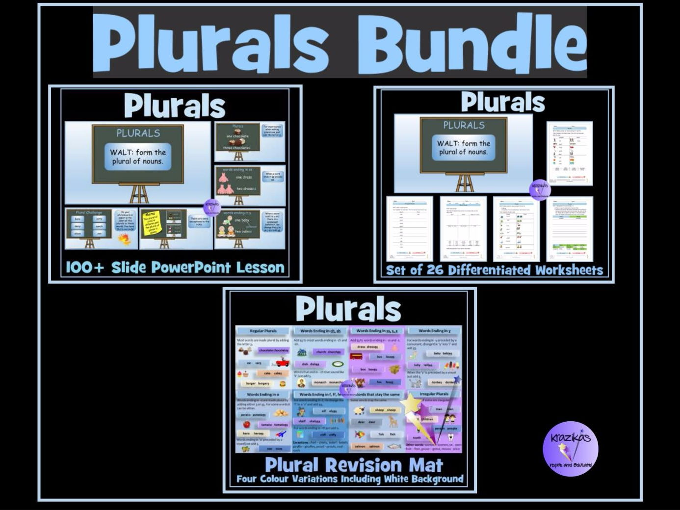 Workbooks making words plural worksheets : Plurals (Regular and Irregular) - Set of 26 Differentiated ...