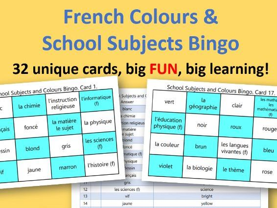 Colours and School Subjects French Bingo