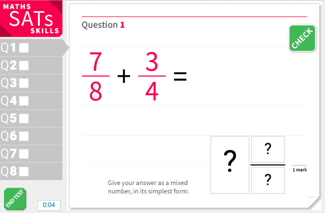 Add fractions to give mixed number answers - KS2 Maths Sats Arithmetic - Interactive Exercises