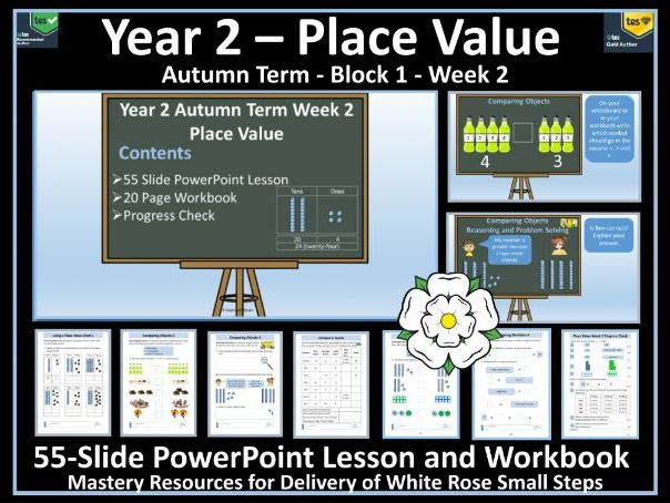 Place Value: Year 2 - Block 1/Week 2 - PowerPoint Lesson & Workbook To Support White Rose Scheme