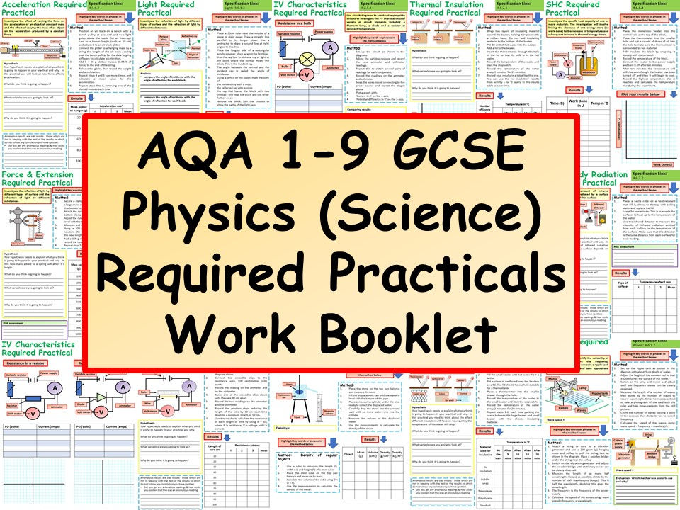 AQA 1-9 GCSE Physics (Science) Required Practical's Work Booklet