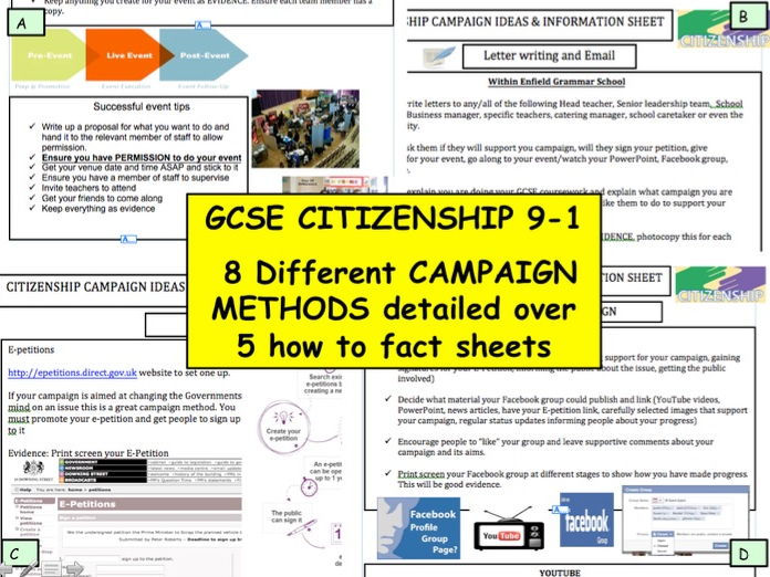GCSE CITIZENSHIP 9-1 Active Citizenship Campaigning methods 'How to sheets..'