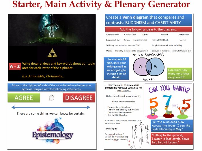A Collection of Starter, Main and Plenary Activities (Activity Generator)