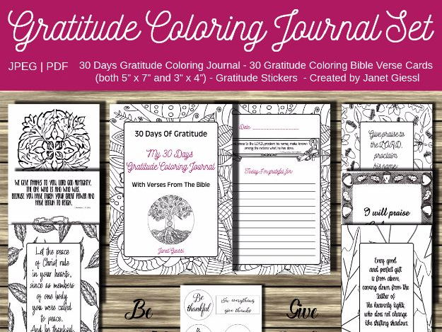 Gratitude Coloring Journal Set