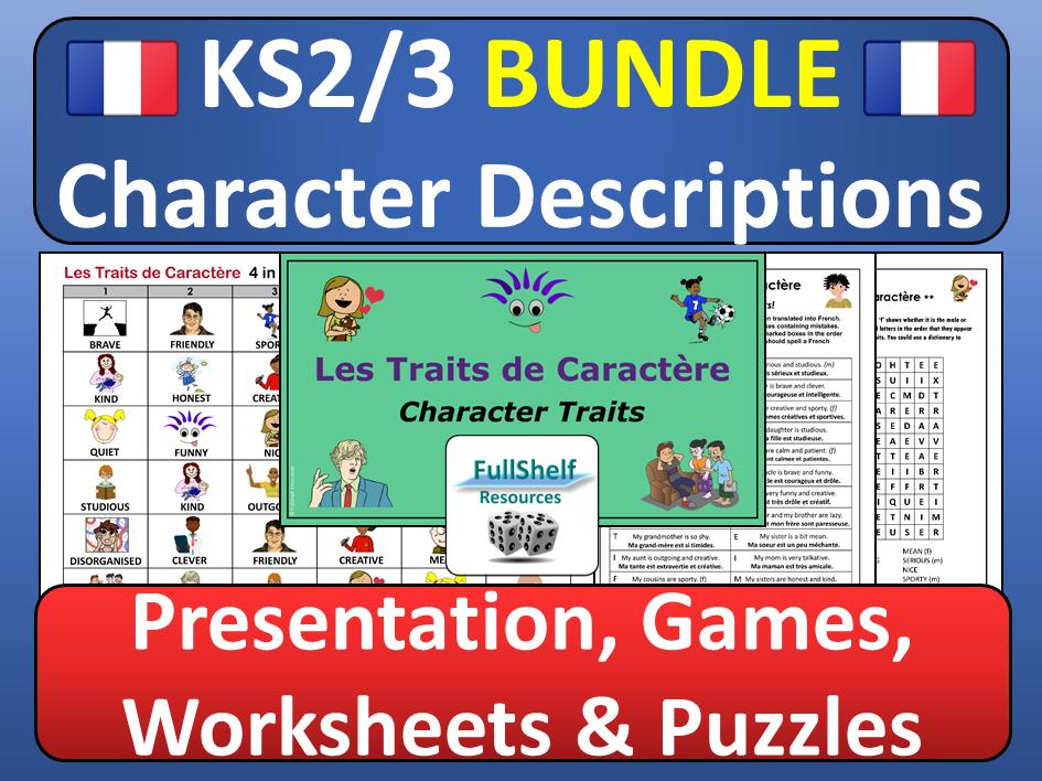 French Character Descriptions BUNDLE