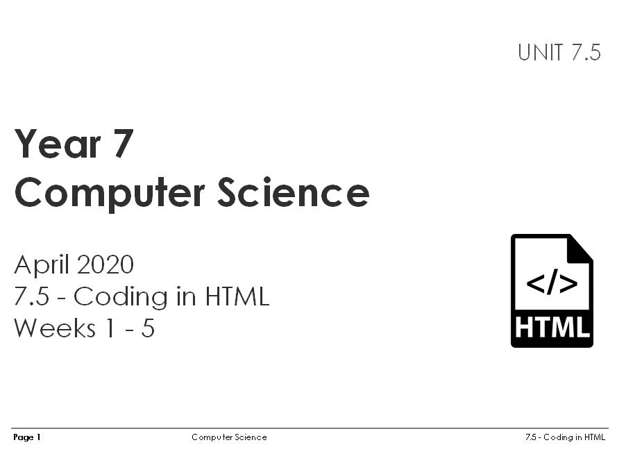 HTML (5 weeks)