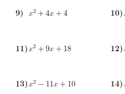 Factorising quadratic expressions a=1 worksheet (with solutions)