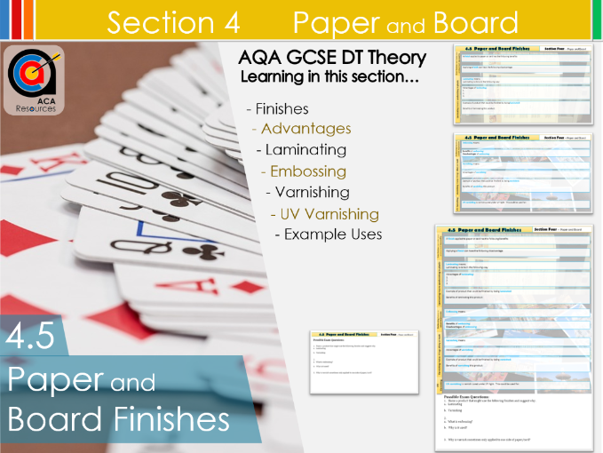 AQA GCSE DT 4.5 Paper and Board Finishes