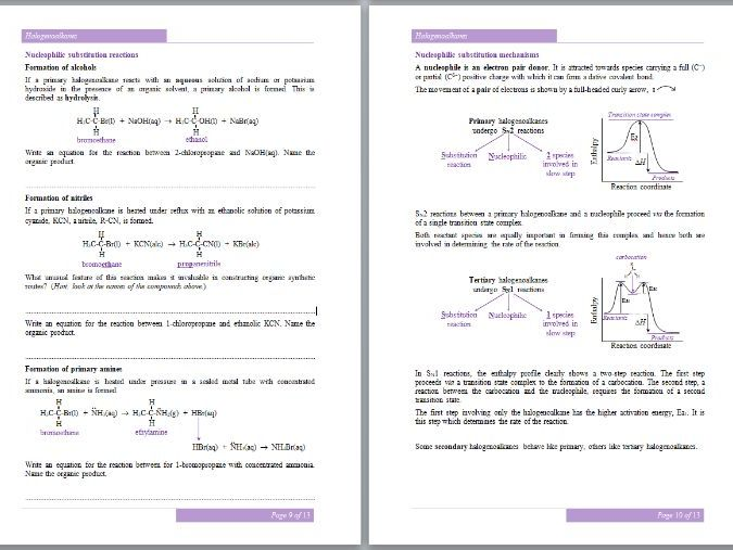 Halogenoalkanes Workbook - A-Level Chemistry