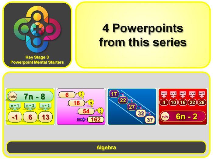 KS3 Maths Mental Starters:  Algebra - Sequences