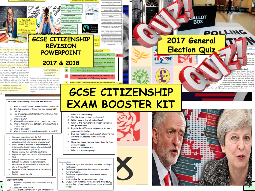 GCSE CITIZENSHIP Exam booster Kit Revision / Quiz 2017 Election politics